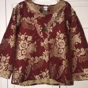 Chico's Asian style jacket red and gold size 1